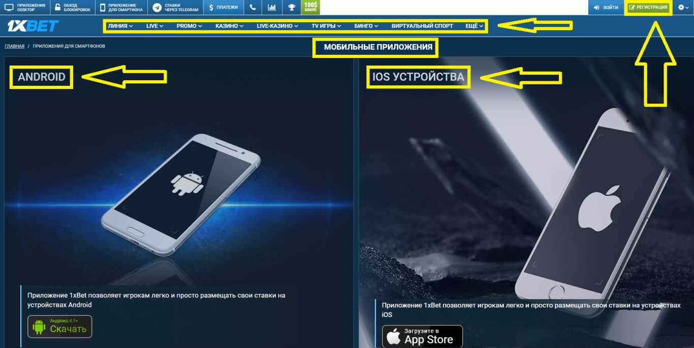 1xBet мобильное приложение: основные варианты